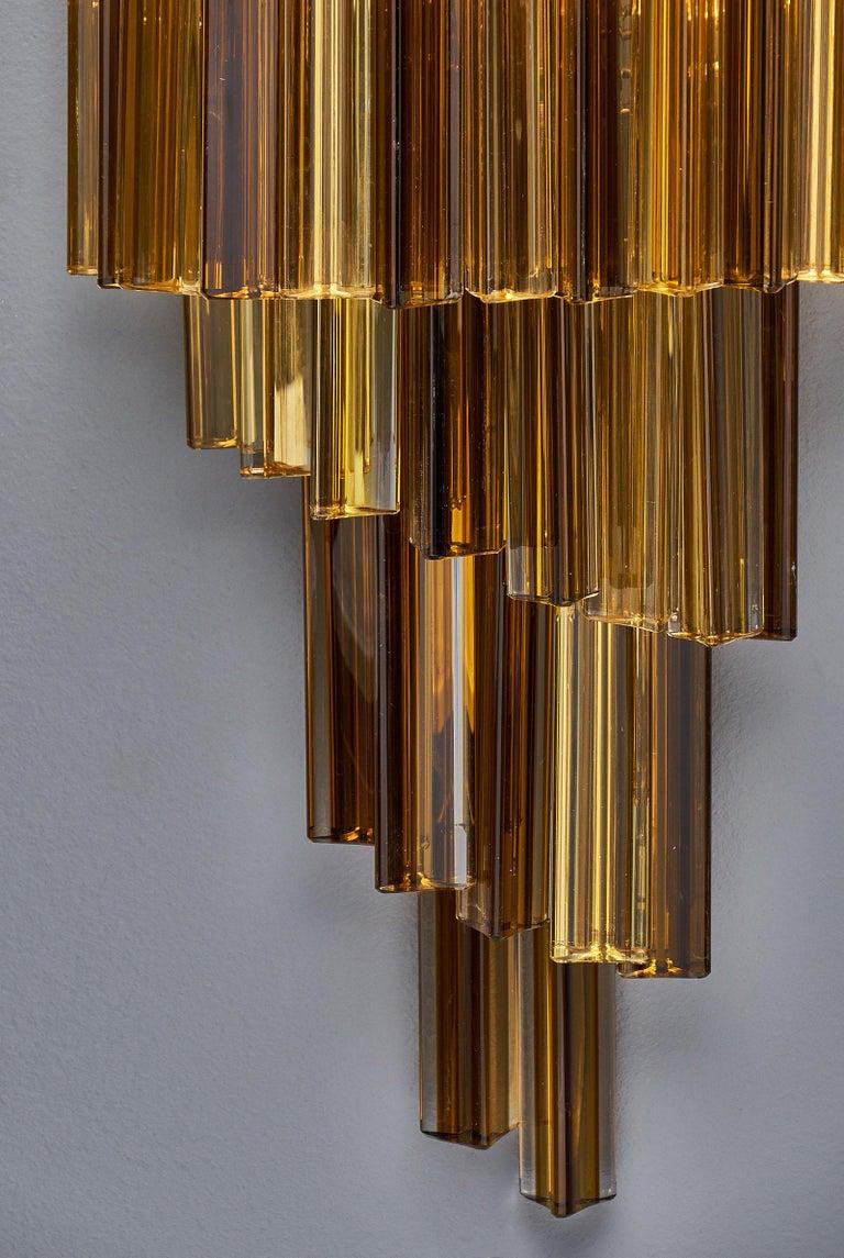 Amber Venini Style Murano Glass Sconces For Sale 2
