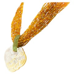 Amber Yellow Agate Peridot Mother of Pearl Pendant Golden Silver Beaded Necklace