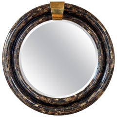 Ambience Tessellated Horn & Brass Mirror in the Manner of Enrique Garcel, 1970s