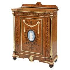 Amboyna and Blue Wedgwood Jasperware Mounted Neoclassical Side Cabinet
