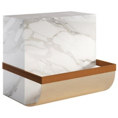 Ambrogio Contemporary Side Table in Marble and Metal by Artefatto Design Studio