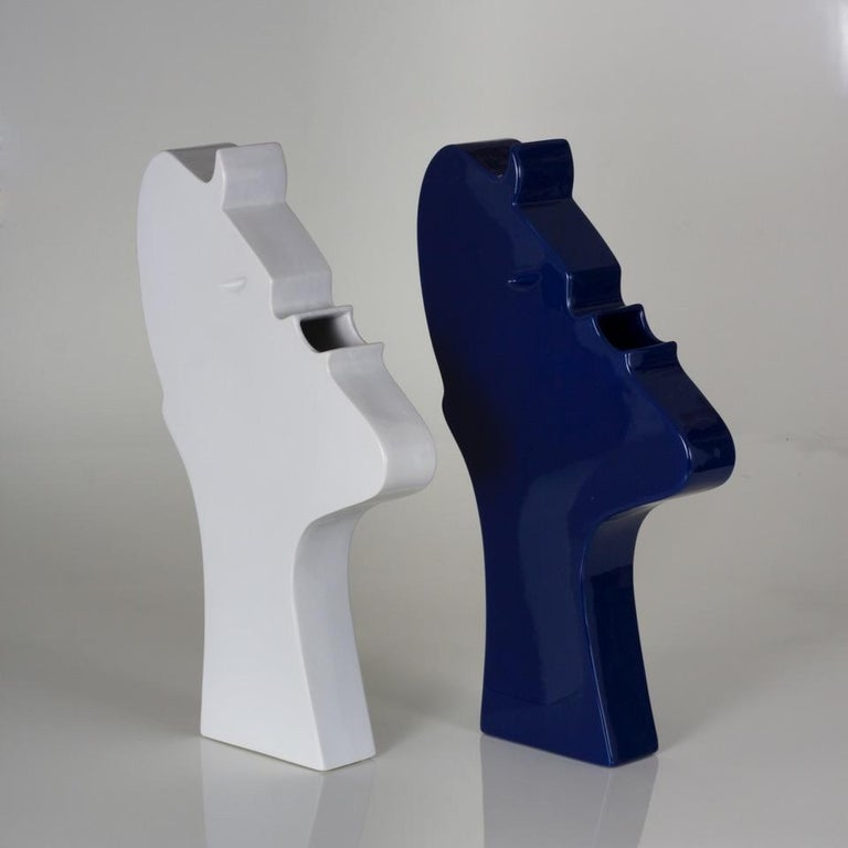 Italian Ambrogio Pozzi Ceramic Sculpture Model Face by Superego Editions, Italy For Sale