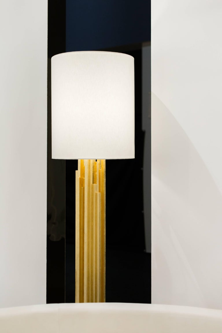 AMBROISE FLOORLAMP - Modern Gold Leaf Floorlamp with Carrara Marble Base In New Condition For Sale In Laguna Niguel, CA