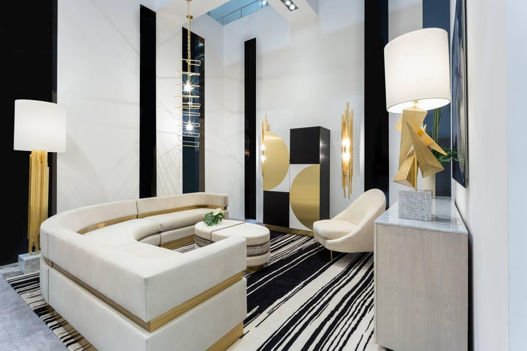 Contemporary AMBROISE FLOORLAMP - Modern Gold Leaf Floorlamp with Carrara Marble Base For Sale
