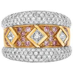 Ambrosi 18 Karat Gold Three Princess Diamond Ring with Pink and White Diamonds