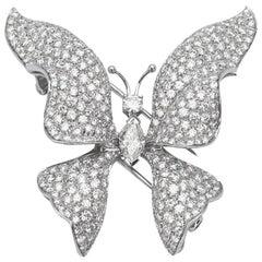Ambrosi 18 Karat White Gold, 7.38 Carat Diamond Butterfly Brooch