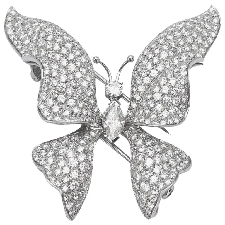 Ambrosi 18 Karat White Gold, 7.38 Carat Diamond Butterfly Brooch For Sale