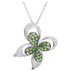 Ambrosi 18 Karat White Gold Diamond and Peridot Papillon Pendant Necklace