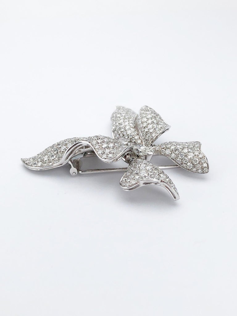 Marquise Cut Ambrosi 18 Karat White Gold, 7.38 Carat Diamond Butterfly Brooch For Sale
