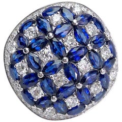 Ambrosi 18 Karat White Gold 8.67 Carat Blue Sapphire and 2.20 Carat Diamond Ring