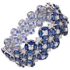 Ambrosi 18 Karat Gold Bracelet with 50.61 Carat Sapphire and 7.14 Carat Diamonds