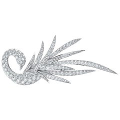 Ambrosi Cellini 18KT Gold, 10.96 Carat, Baguette and Round Diamond Swan Brooche