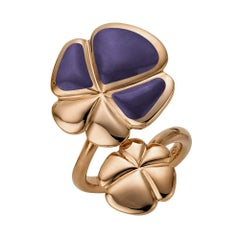 Ambrosi Cellini Exclusive 18 Karat Rose Gold and Lavender Jade Clover Ring
