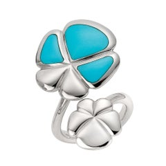 Ambrosi Cellini Exclusive 18 Karat White Gold and Turquoise Clover Ring