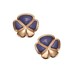 Ambrosi Exclusive 18 Karat Rose Gold, Lavender Jade Clover Earrings