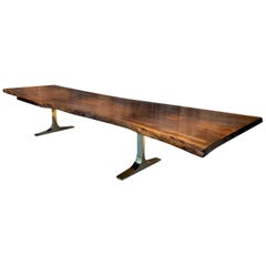 Ambrosi Live-Edge Walnut Slab Table with Cast Bronze Bases from Costantini