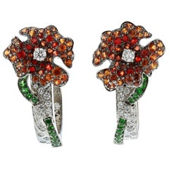 """Ambrosi """"Pretty Flower"""" Earrings in 18K White Gold with Gemstones and Diamonds"""