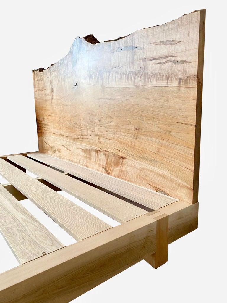 Modern Ambrosia Maple King Sized Perri Bed with Live-Edge Slab Headboard For Sale