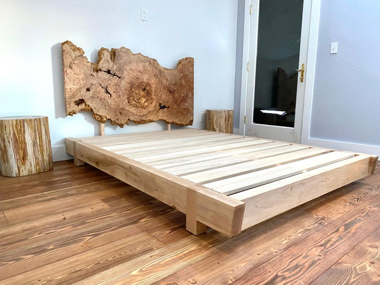 Hand-Crafted Ambrosia Maple King Sized Perri Bed with Live-Edge Slab Headboard For Sale