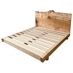 Ambrosia Maple King Sized Perri Bed with Live-Edge Slab Headboard