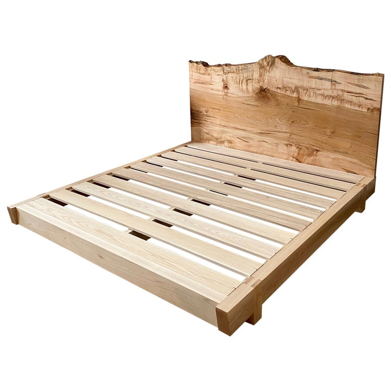 Ambrosia Maple King Sized Perri Bed with Live-Edge Slab Headboard For Sale