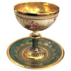 Ambrosius Lamm Dresden Hand Painted Pedestal Cup Saucer Luster Green