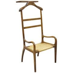 Amcrest Mid-Century Modern Sculpted Wood Gentleman's Clothing Valet Butler Chair