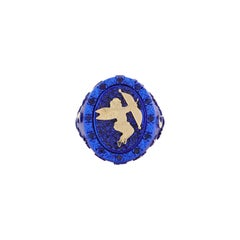 """Amedeo """"Astronomical Love"""" Ring with Blue Sapphires & 18kt Gold"""