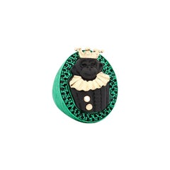 """Amedeo """"Cheeky Monkey"""" Cameo Ring with Black Diamonds"""