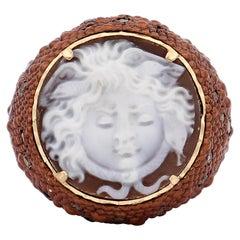 "Amedeo ""Chocolate Gorgon"" Cameo Multistone Ring"
