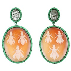 """Amedeo Couture """"Bees"""" Cameo with Tsavorites"""