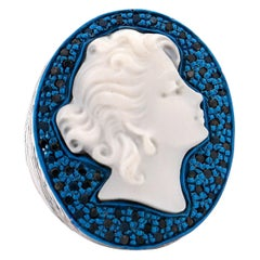 """Amedeo """"Donna"""" Cameo Ring with Black Diamonds"""