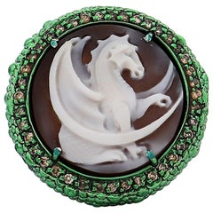 "Amedeo ""Dragon"" Cameo Ring with Brown Diamonds"