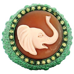 """Amedeo """"Elephant"""" Cameo Ring with Yellow Sapphires"""