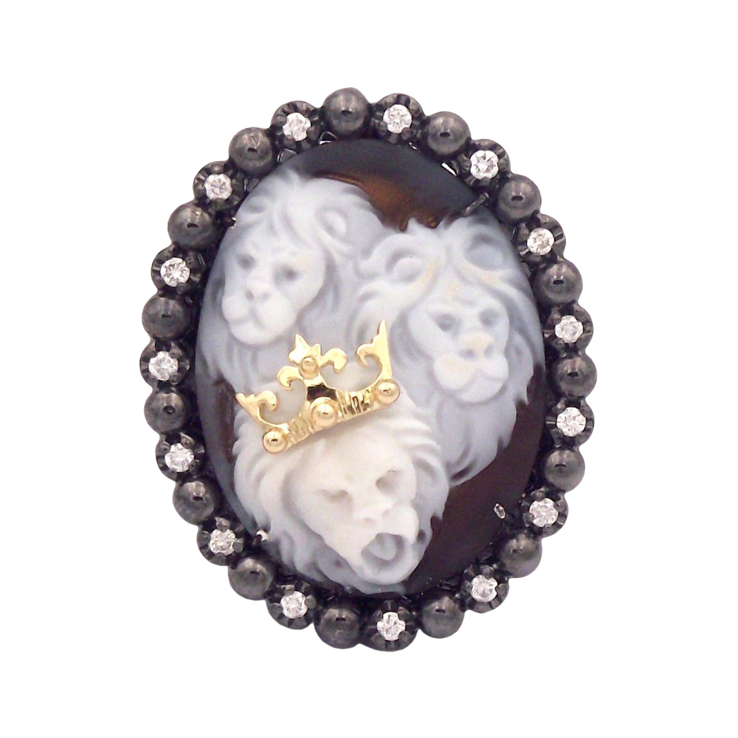 """Amedeo """"Lion King"""" Cameo Ring with White Diamonds"""