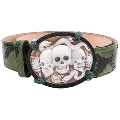 "Amedeo ""Memento Mori"" Cameo Buckle Belt with Python Leather"