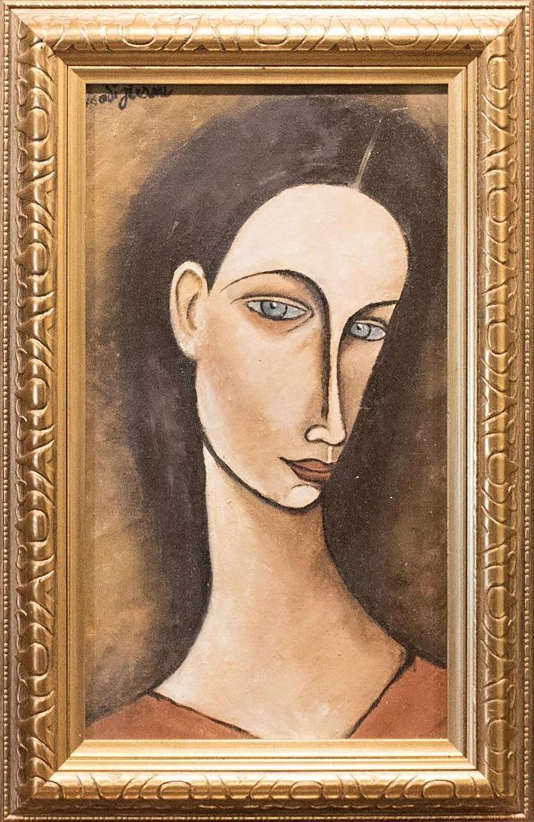 "Portrait Oil Painting titled ""Portrait of Chana Orloff"" After Amedeo Modigliani - Brown Portrait Painting by Amedeo Modigliani"