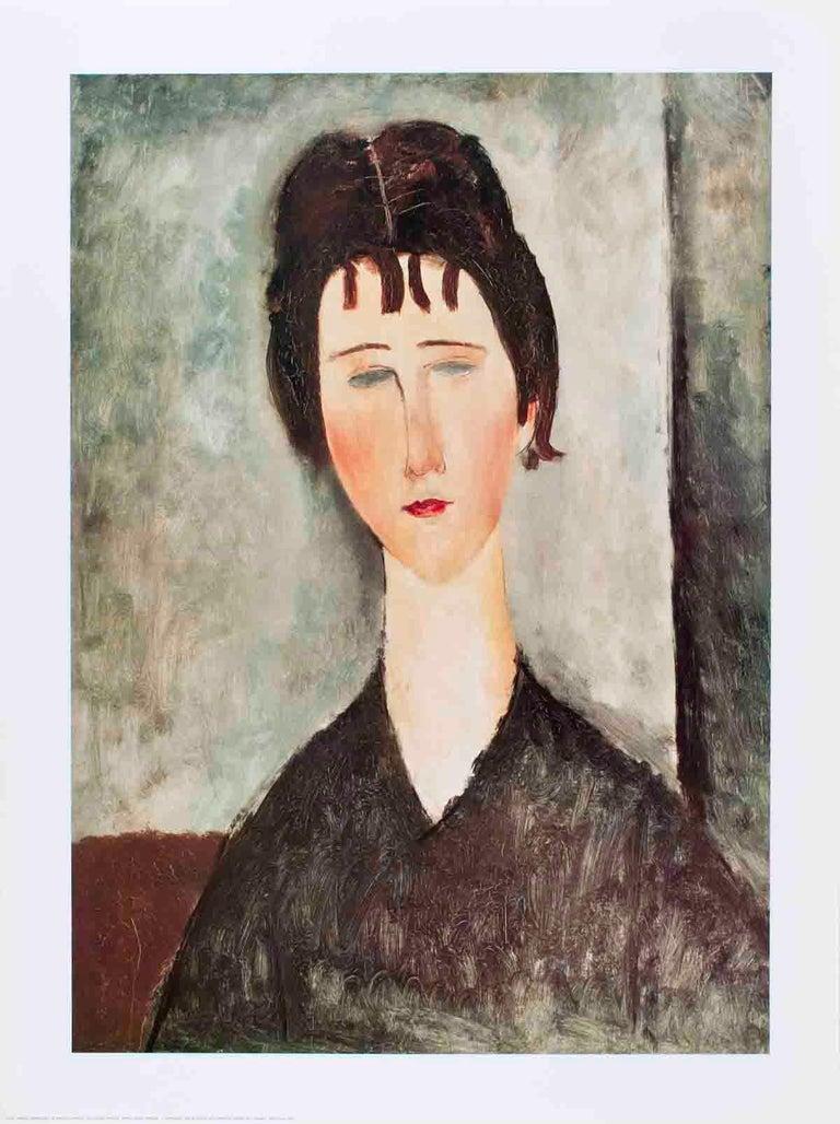 1996 Amedeo Modigliani 'La Fanciulla Bruna' Modernism Gray,White,Brown Italy  - Print by Amedeo Modigliani