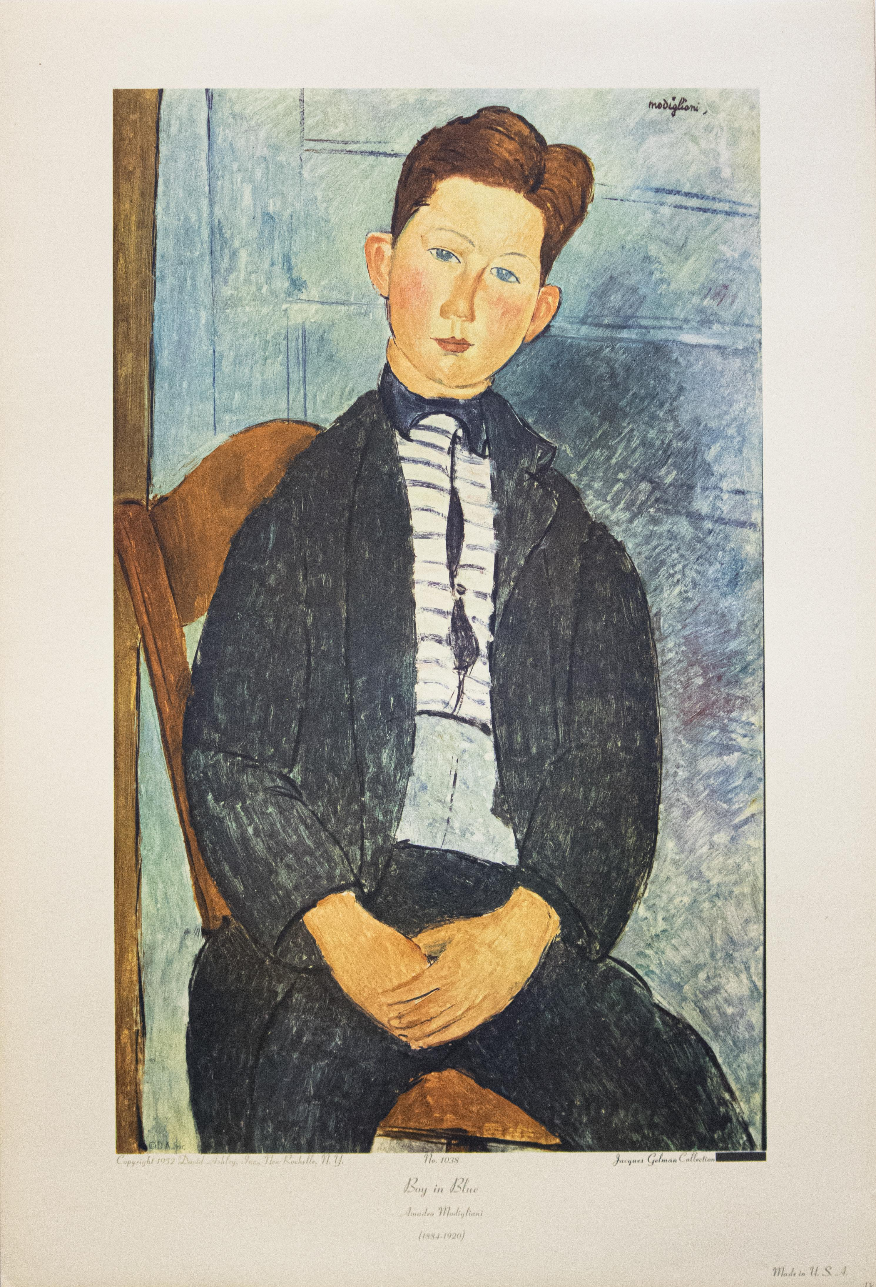"""Boy In Blue"" Print After Amedeo Modigliani"