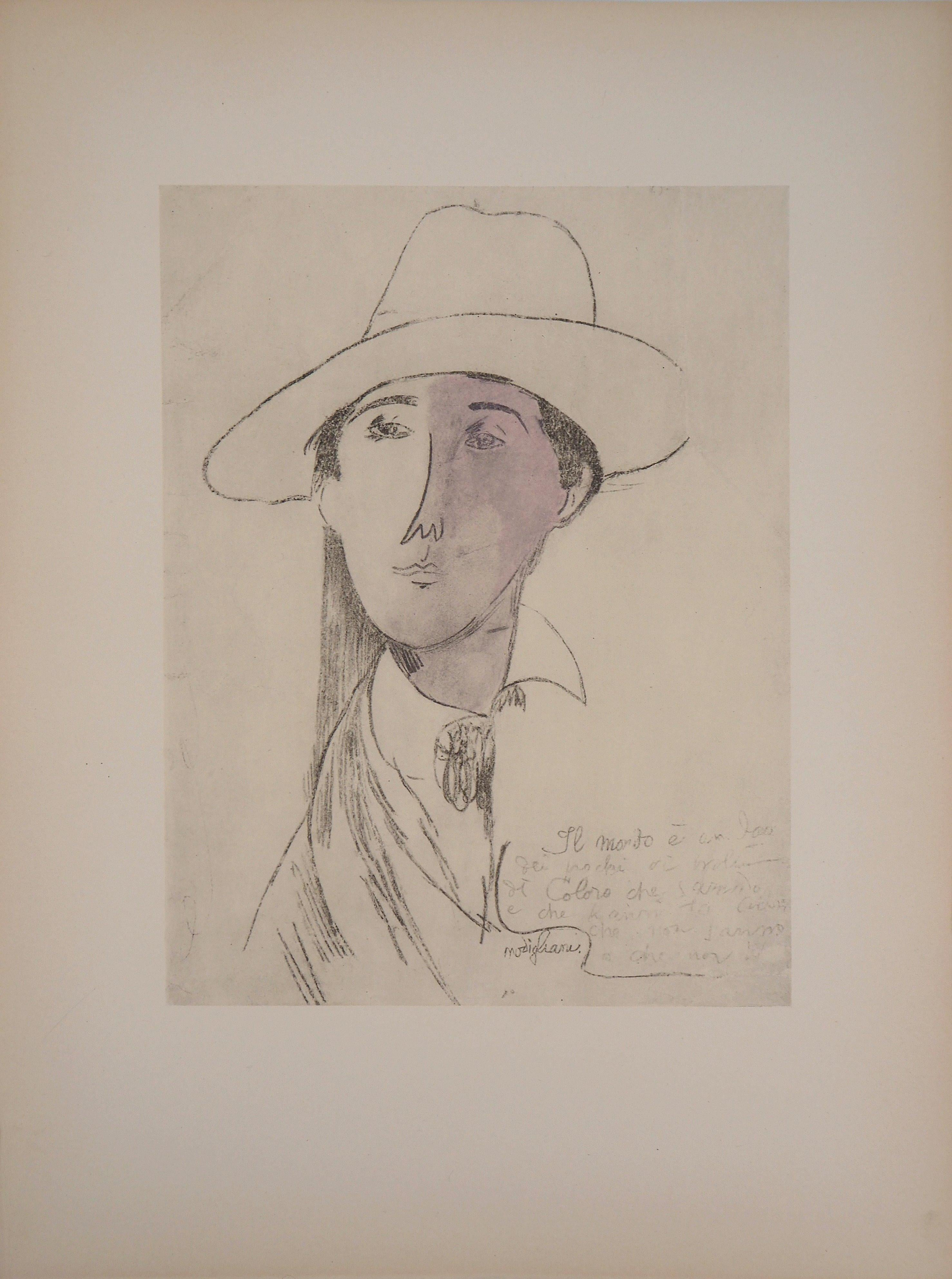Elegant Man with a Hat - Lithograph signed in the plate (Leda 1960)
