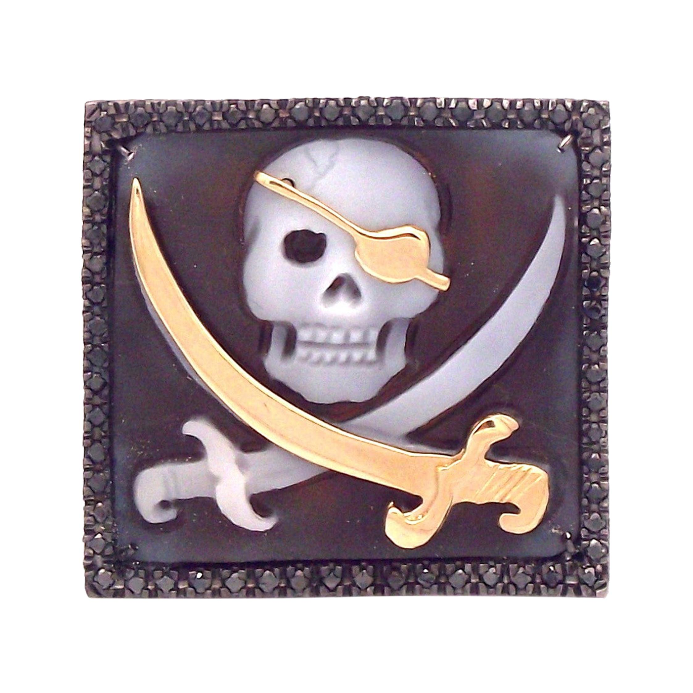 """Amedeo """"Pirate"""" Cameo Ring with Black Diamonds"""