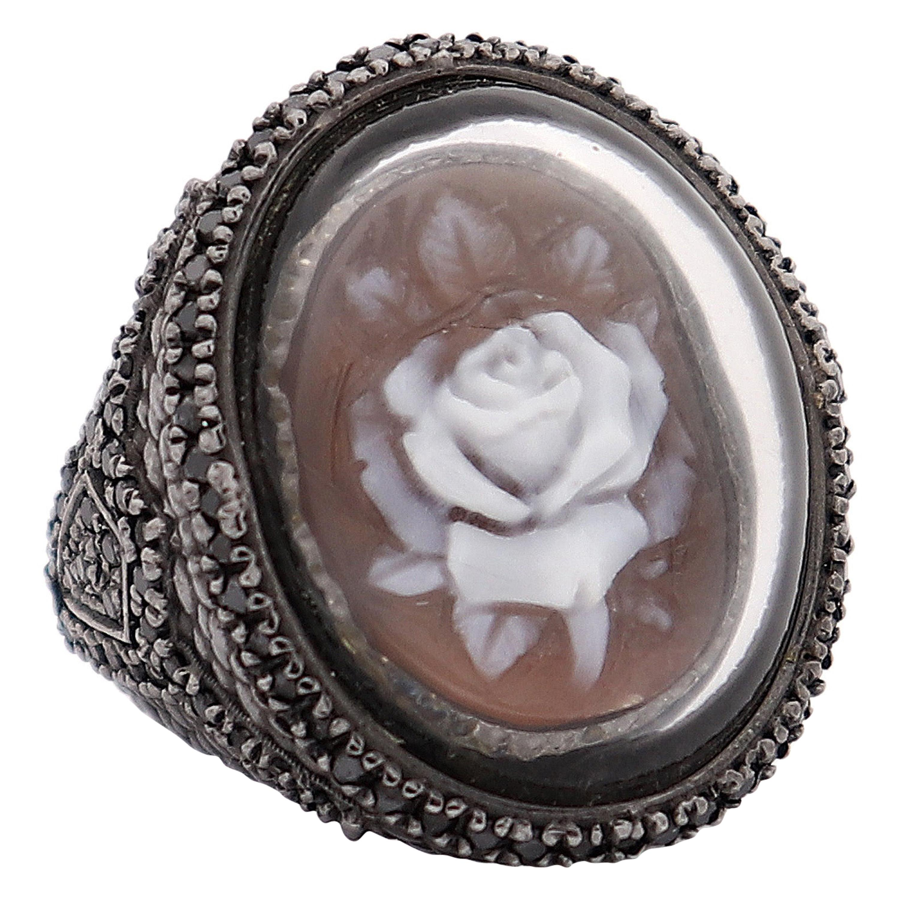 """Amedeo """"Rosa"""" Cameo Ring with Black Diamonds"""
