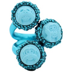 """Amedeo Turquoise """"Wise Monkeys"""" Cameo Ring"""