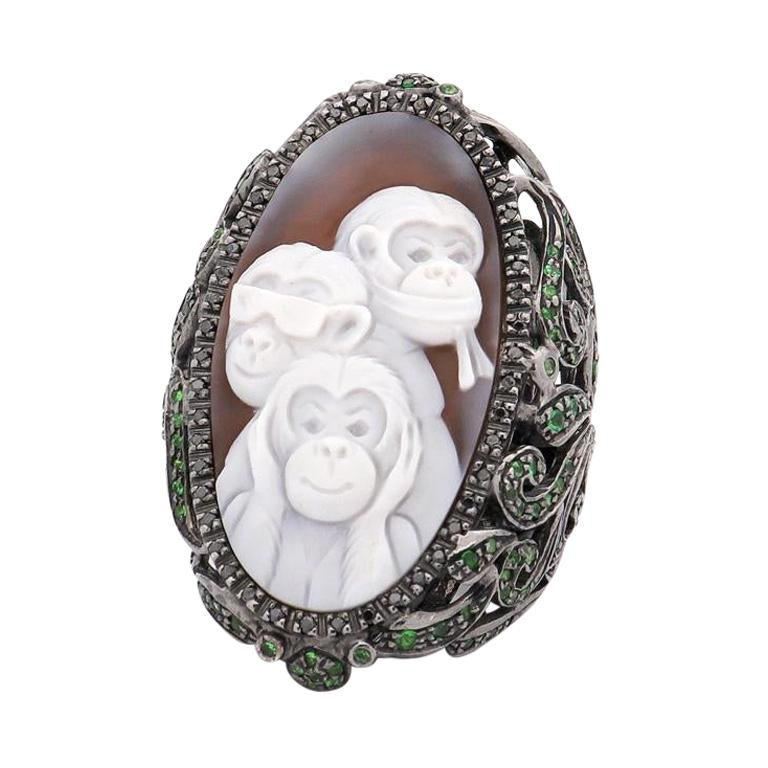 """Amedeo """"Weekend In Nikko"""" Cameo Ring with Black Diamonds & Tsavorites For Sale"""