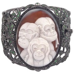 "Amedeo ""Wise Monkeys"" Cameo Cuff with Tsavorites"