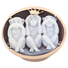 """Amedeo """"Wise Monkeys"""" Cameo Ring With 14KT Gold"""