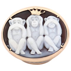 """Amedeo """"Wise Monkeys"""" Cameo Ring with 14 Karat Gold"""