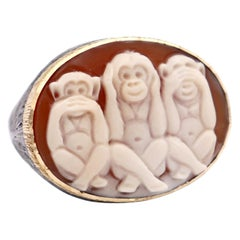 """Amedeo """"Wise Monkeys"""" Cameo Ring with 18 Karat Gold"""