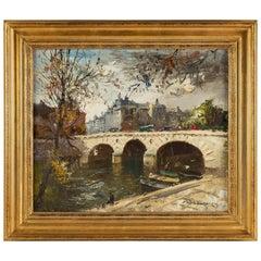 Ameglio Mério, Oil on Canvas Le Pont Marie in Paris, circa 1950