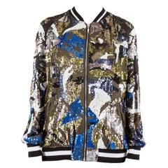 Amen Multicolor Sequin Embellished Satin Bomber Jacket M
